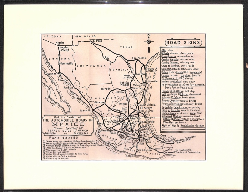 road signs mexico vintage map 1947 matted