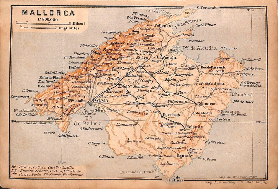 Mallorca Spain Map Baedeker 1901 Matted 8 X 10