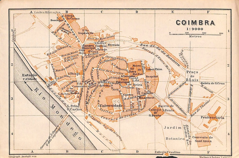 Coimbra Portugal Baedeker 1908 Map Matted 8 X 10
