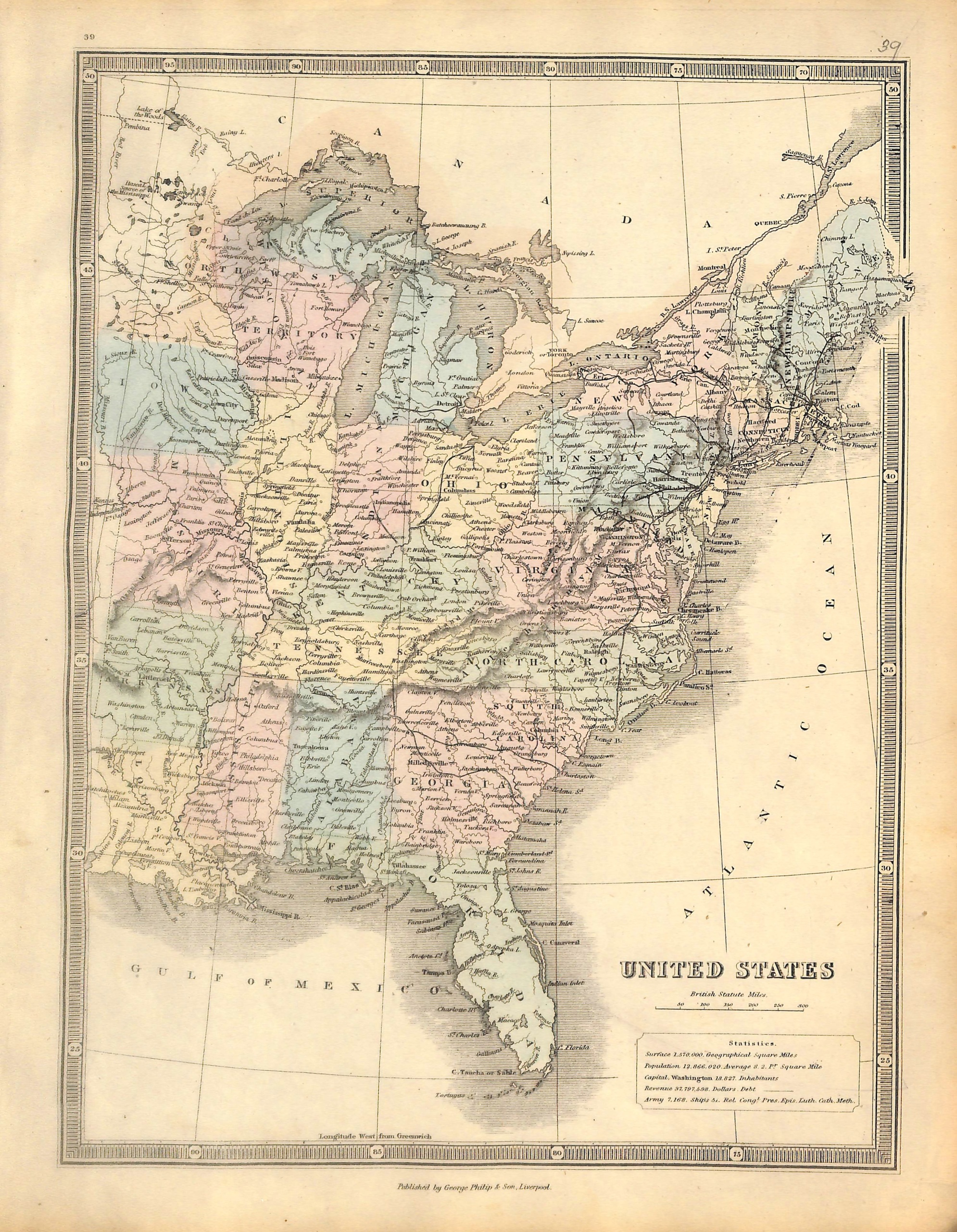 United States, Central and Eastern United States, U.S., Map, 1853